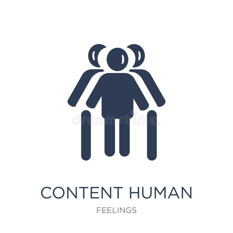 icona umana contenta Icona umana del contenuto piano d'avanguardia di vettore sul whi royalty illustrazione gratis