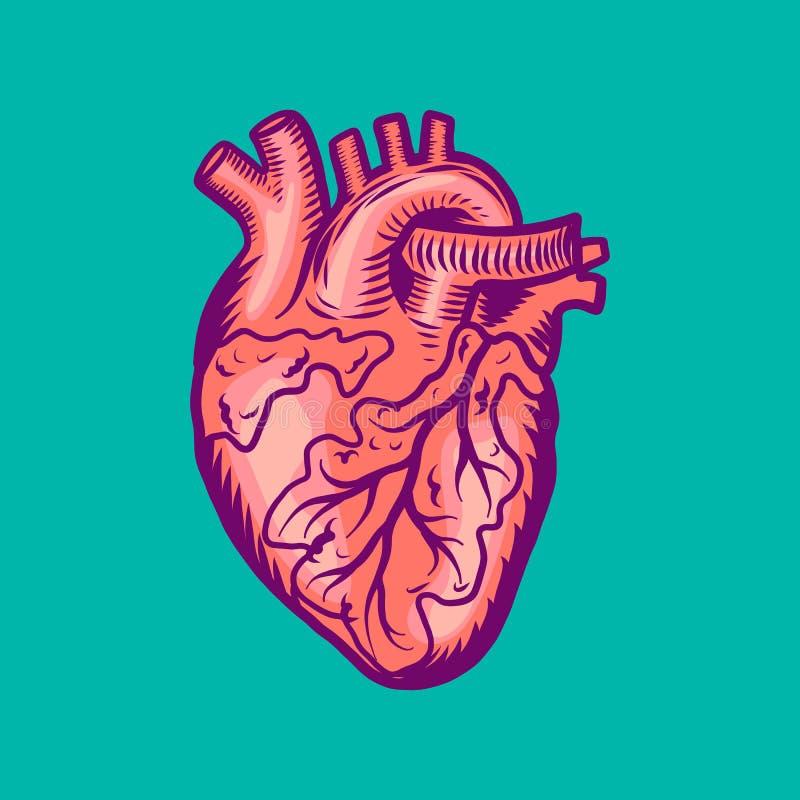 Icona umana del cuore del tatuaggio, stile disegnato a mano royalty illustrazione gratis