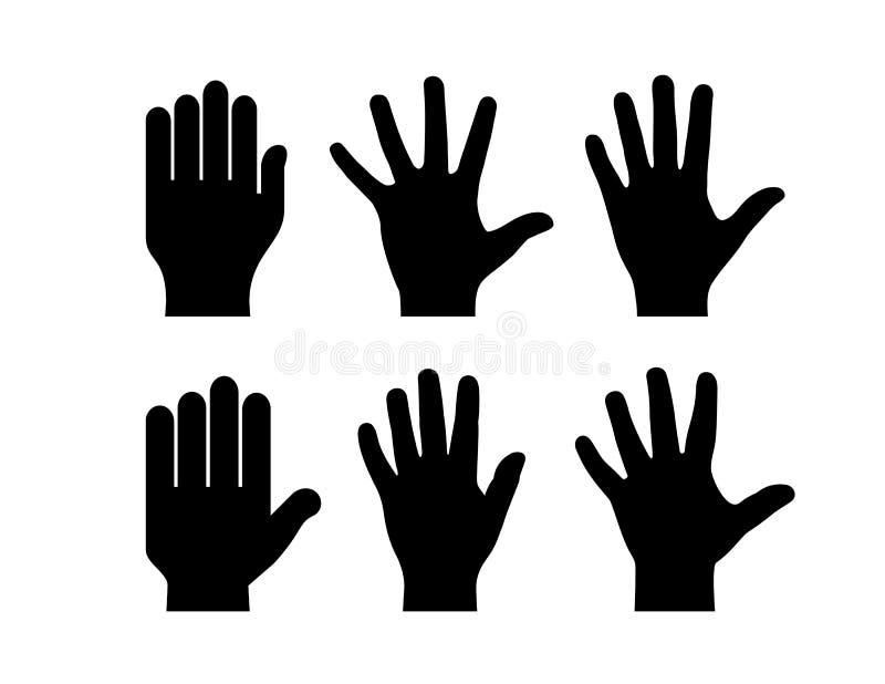 Icona umana della siluetta di vettore della palma della mano illustrazione vettoriale
