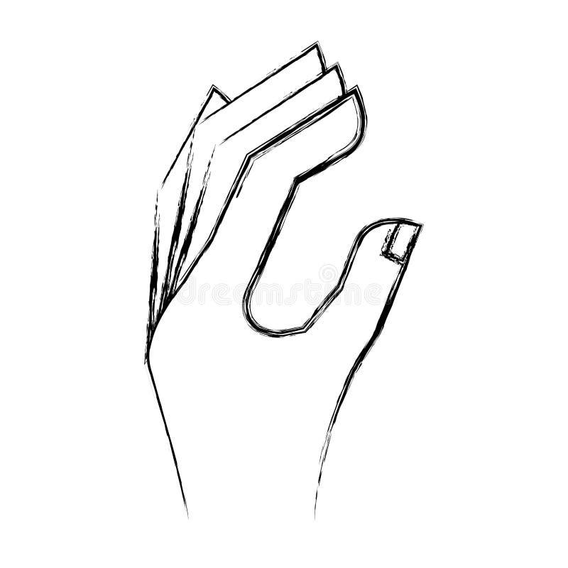 Icona umana di lingua della mano illustrazione vettoriale