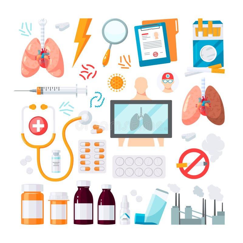 Icona umana di vettore dei polmoni nello stile piano royalty illustrazione gratis