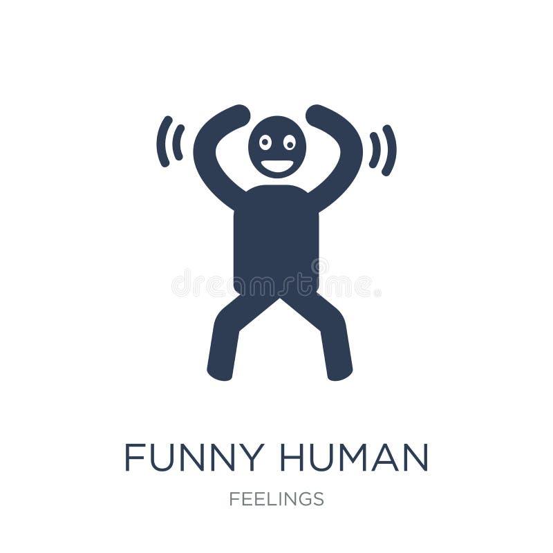 icona umana divertente Icona umana divertente di vettore piano d'avanguardia sulla b bianca illustrazione vettoriale