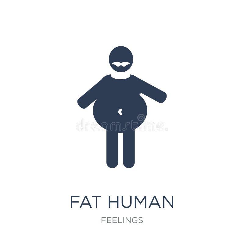 icona umana grassa Icona umana grassa di vettore piano d'avanguardia su backg bianco illustrazione vettoriale