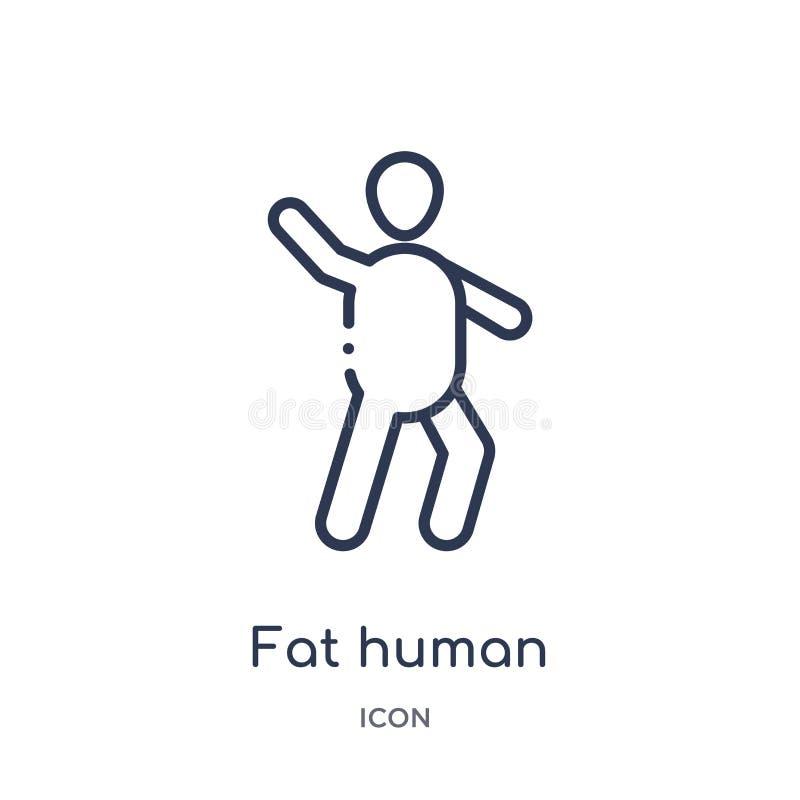 Icona umana grassa lineare dalla raccolta del profilo di sensibilità Linea sottile vettore umano grasso isolato su fondo bianco d illustrazione di stock