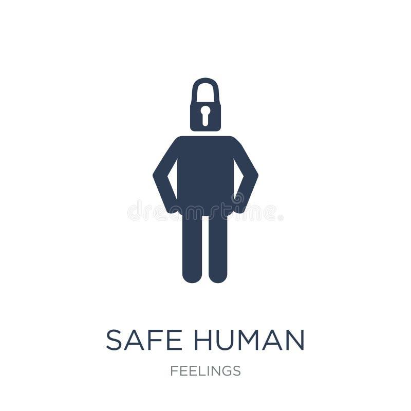 icona umana sicura Icona umana sicura di vettore piano d'avanguardia sul BAC bianco illustrazione vettoriale