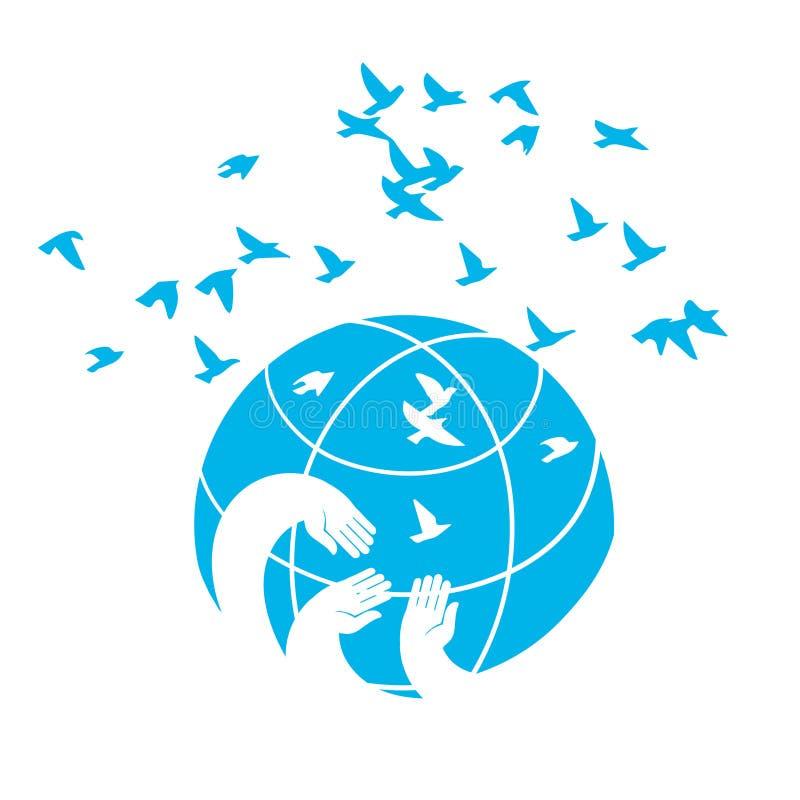 Icona un simbolo del pianeta del blu di pace immagine stock