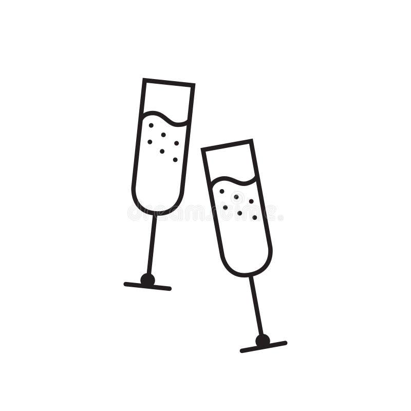 Icona unica di vetro di Champagne immagine stock libera da diritti