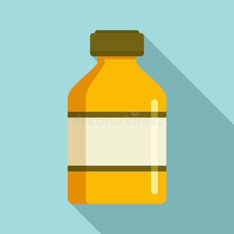 Icona vaccino della bottiglia, stile piano illustrazione vettoriale