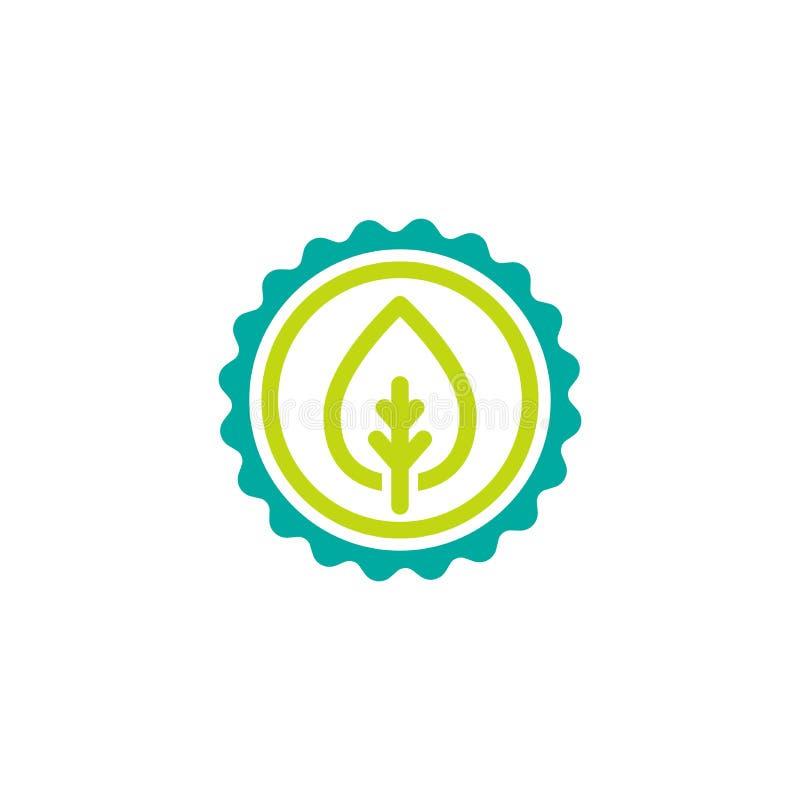 Icona valida della guarnizione Cerchio blu con il profilo del nastro e germoglio verde con la foglia royalty illustrazione gratis