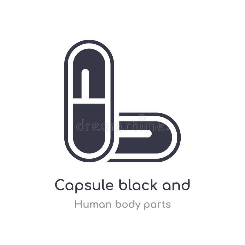 icona variabile in bianco e nero del profilo della capsula linea isolata illustrazione di vettore dalla raccolta umana delle part illustrazione di stock