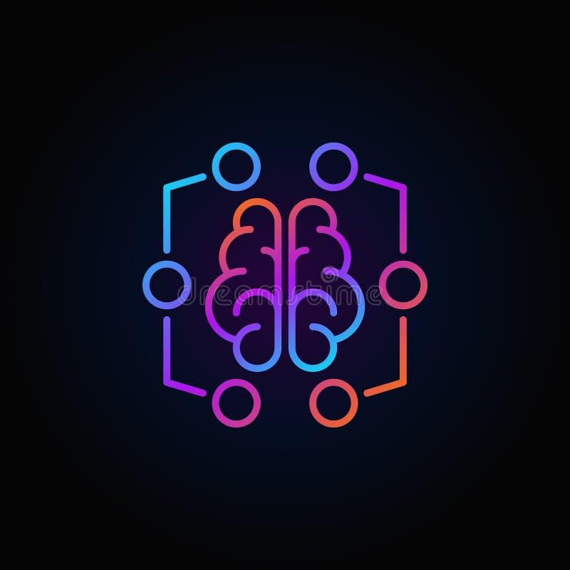 Icona variopinta del cervello di Digital - vector il simbolo di apprendimento automatico illustrazione di stock