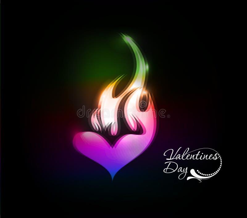 Icona variopinta del fuoco di giorno dei biglietti di S. Valentino illustrazione di stock