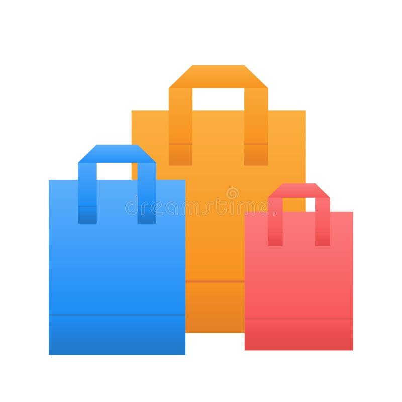 Icona variopinta del sacchetto della spesa nello stile piano sull'illustrazione bianca e di riserva di vettore illustrazione di stock