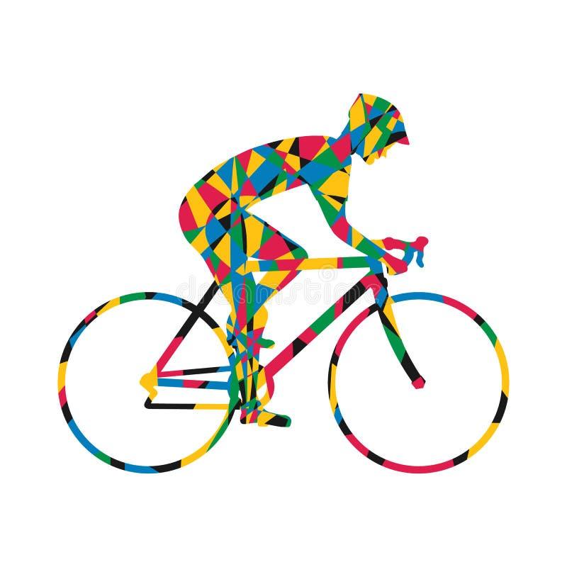 Icona variopinta della siluetta del ciclista illustrazione di stock