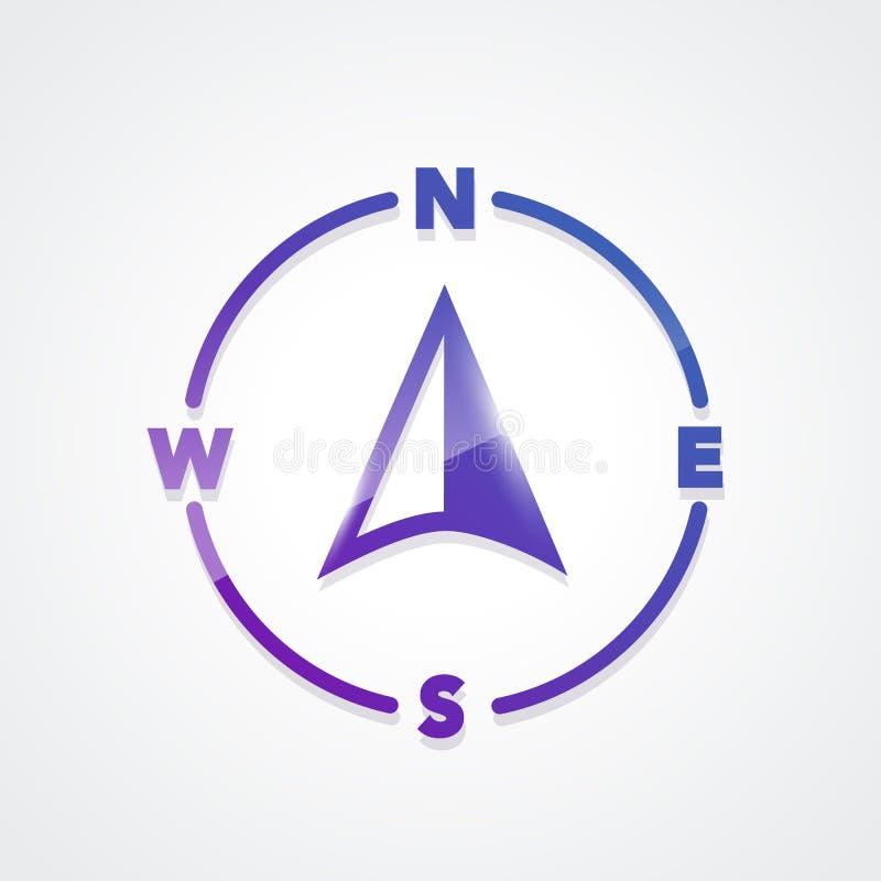 Icona variopinta di vettore della bussola Elemento di web illustrazione vettoriale