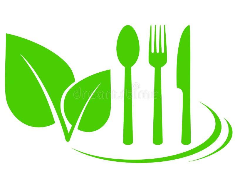 Icona vegetariana con le foglie royalty illustrazione gratis