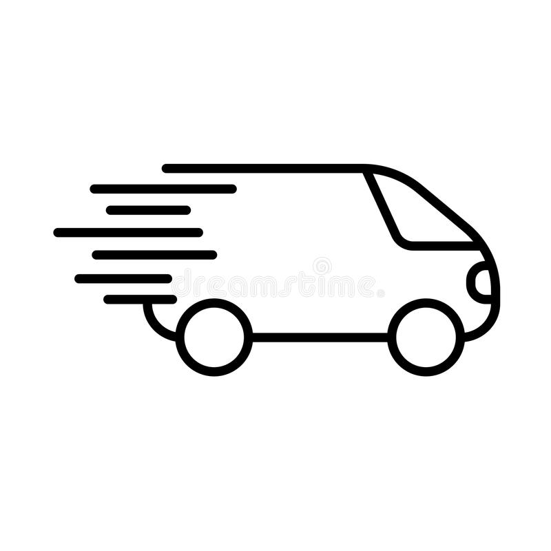 Icona veloce di trasporto, simbol del camion di consegna piano illustrazione vettoriale