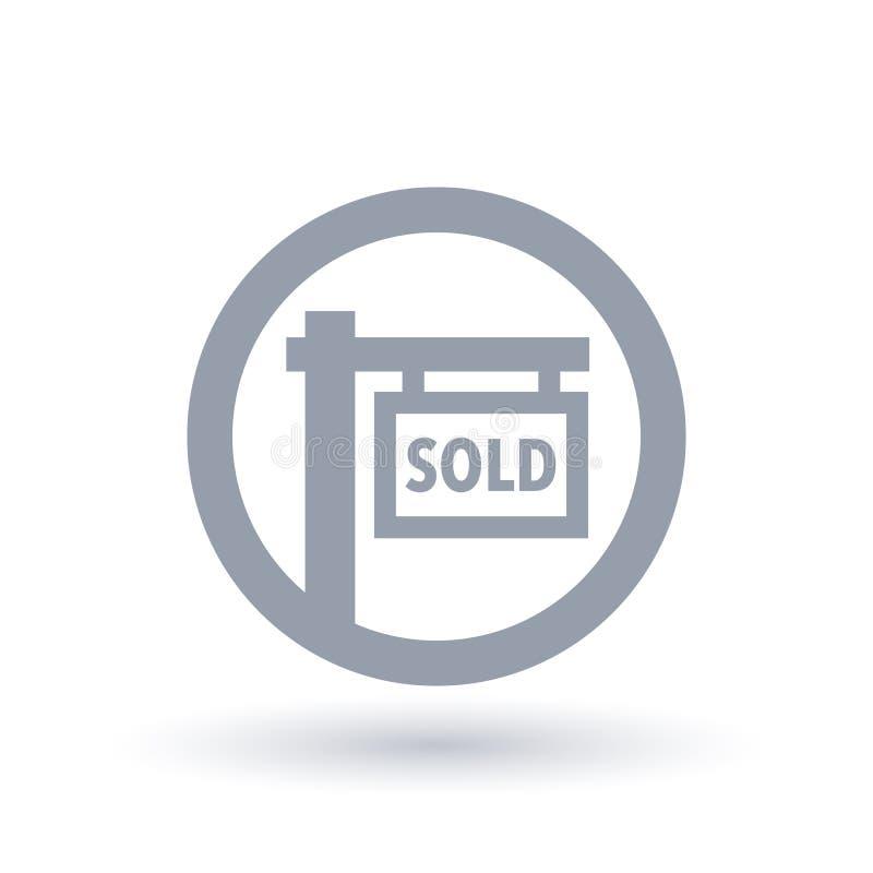 Icona venduta del segnale stradale - simbolo della realtà della proprietà illustrazione vettoriale