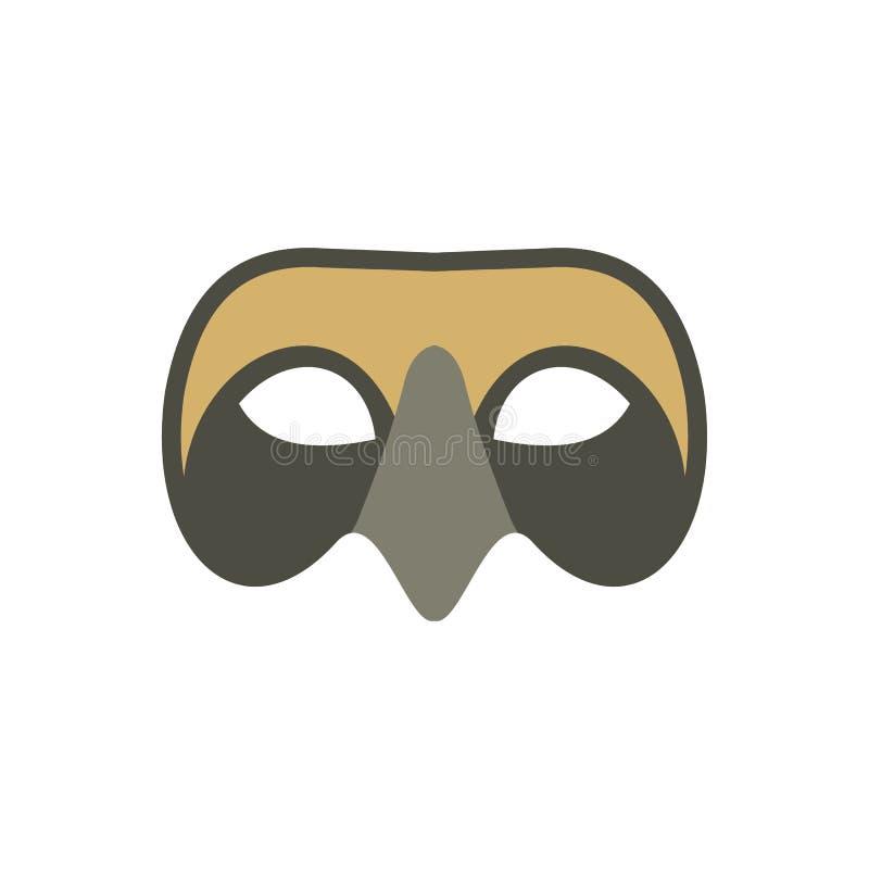 Icona veneziana della maschera degli uomini, stile piano illustrazione vettoriale