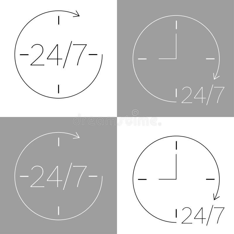 icona venti quattro sette in bianco e nero illustrazione vettoriale