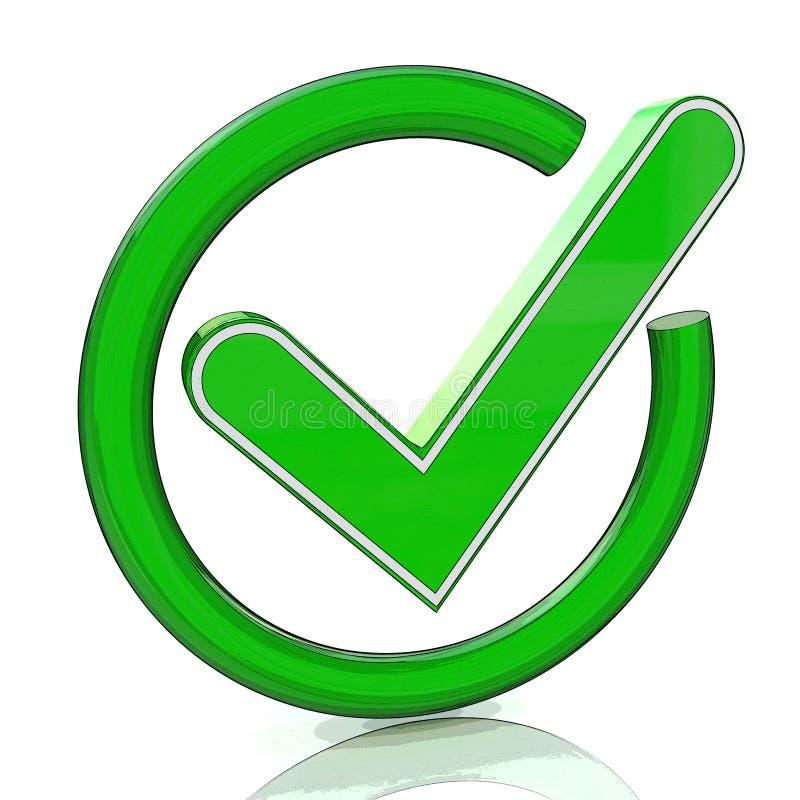 Icona verde 3d del segno di spunta Simbolo di vetro del segno di spunta illustrazione di stock