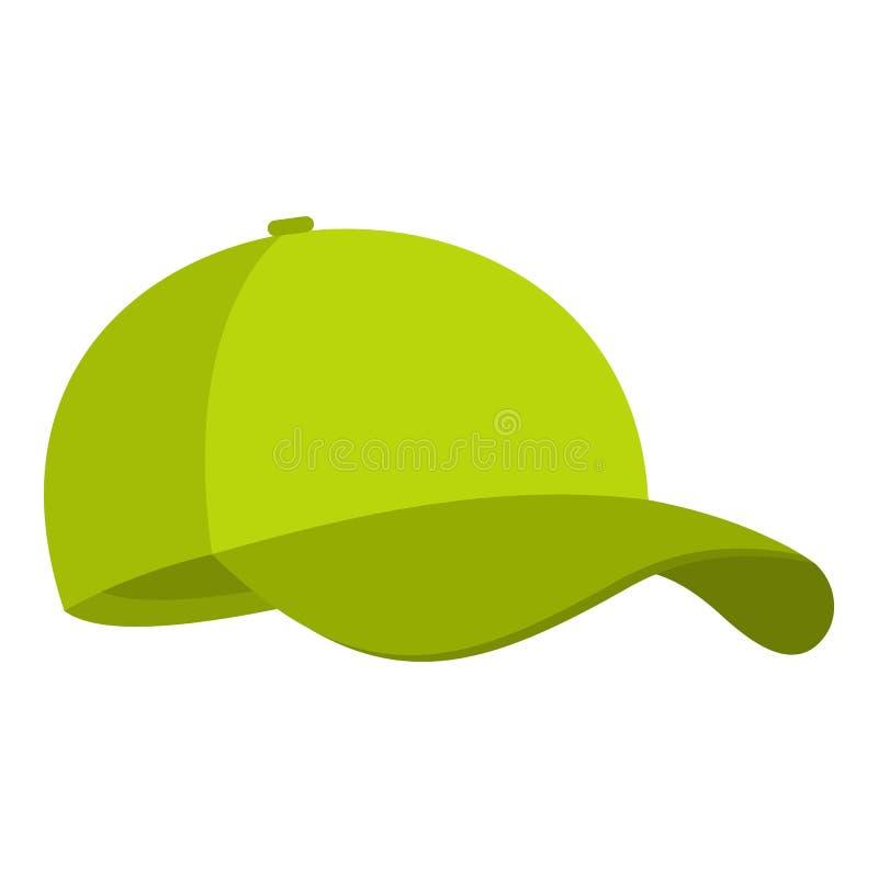 Icona verde del berretto da baseball, stile piano fotografie stock