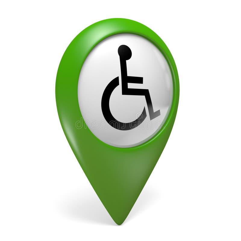 Icona verde del puntatore della mappa con il simbolo della sedia a rotelle per la gente handicappata illustrazione vettoriale