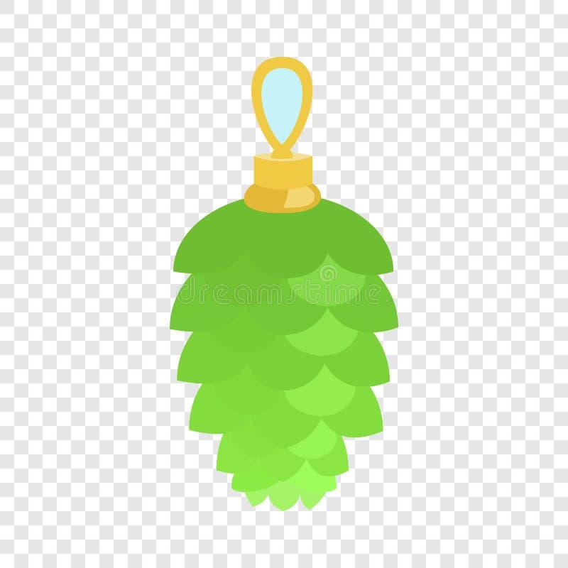 Icona verde dell'albero di abete del giocattolo, stile piano illustrazione vettoriale