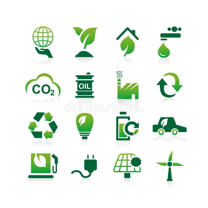 Icona verde dell'ambiente ECO illustrazione di stock