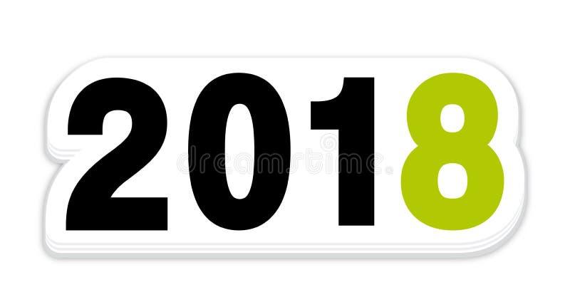 Icona verde dell'autoadesivo del nuovo anno 2018 royalty illustrazione gratis