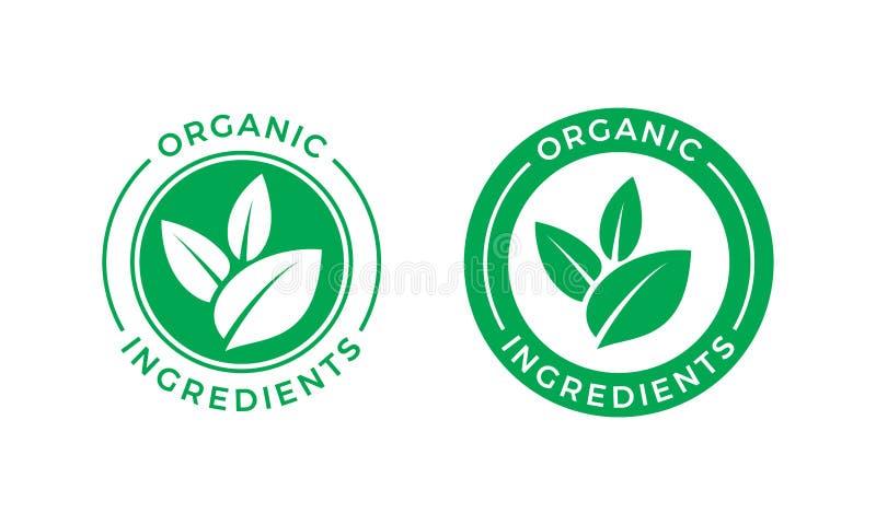 Icona verde dell'etichetta di vettore della foglia degli ingredienti organici illustrazione di stock
