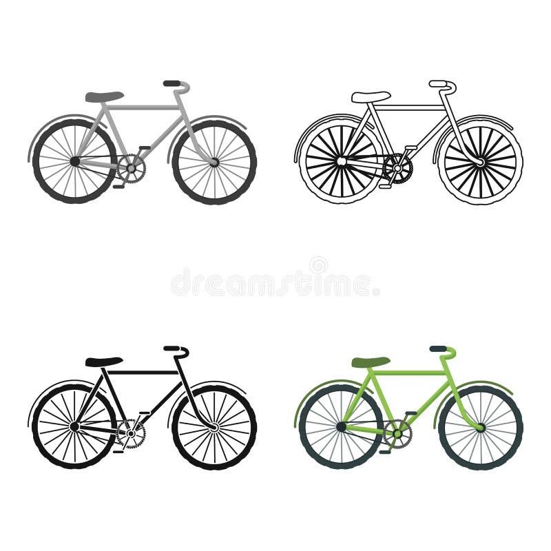 Icona verde della bicicletta nello stile del profilo isolata su fondo bianco Illustrazione di ecologia e bio- di simbolo delle az illustrazione di stock
