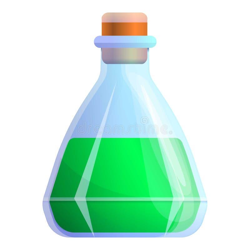 Icona verde della boccetta della pozione magica, stile del fumetto illustrazione di stock