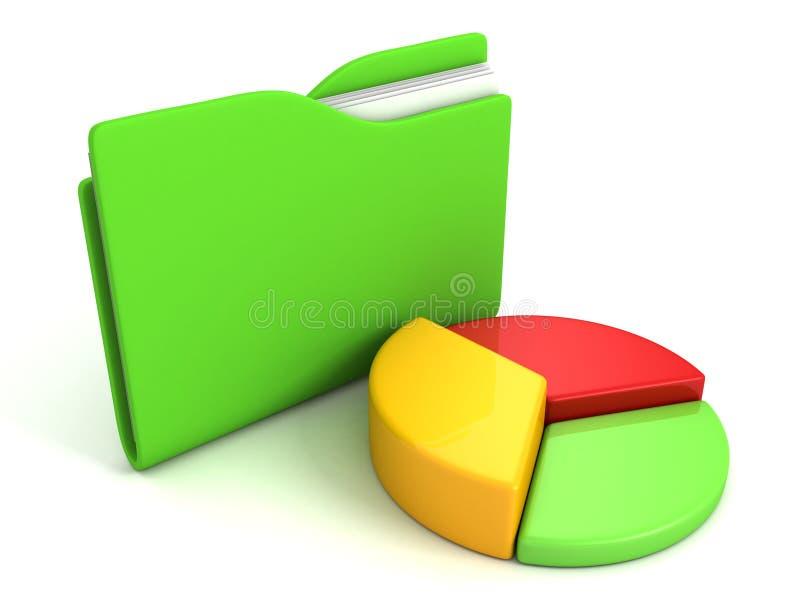 Icona verde della cartella del computer con il grafico a settori variopinto illustrazione vettoriale