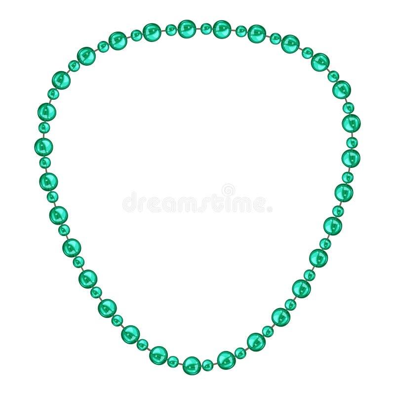Icona verde della collana, stile del fumetto illustrazione vettoriale