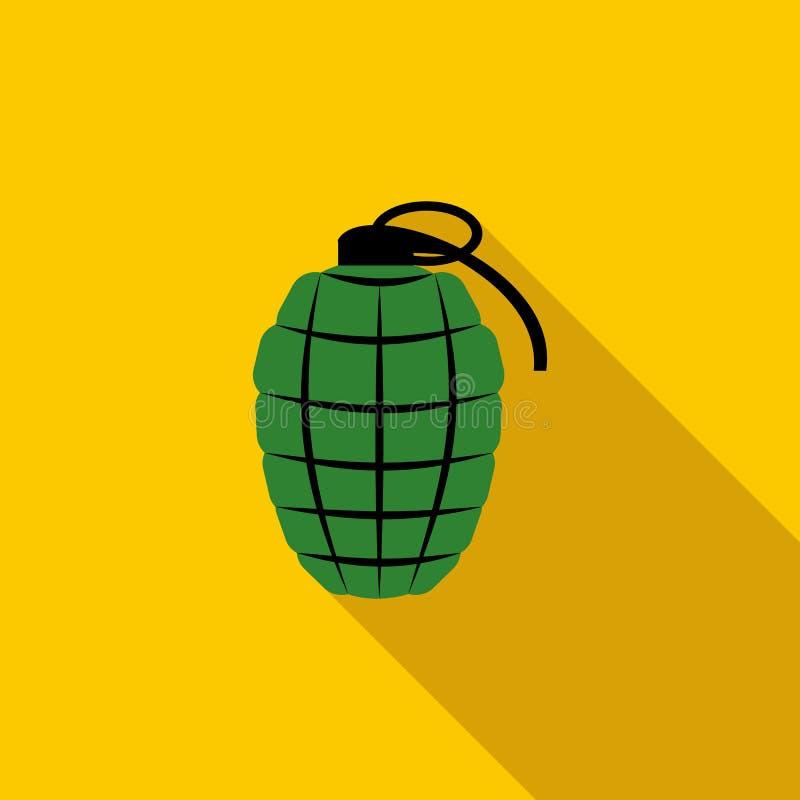 Icona verde della granata a mano, stile piano illustrazione di stock
