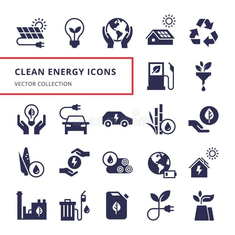Icona verde di energia messa nello stile piano illustrazione vettoriale