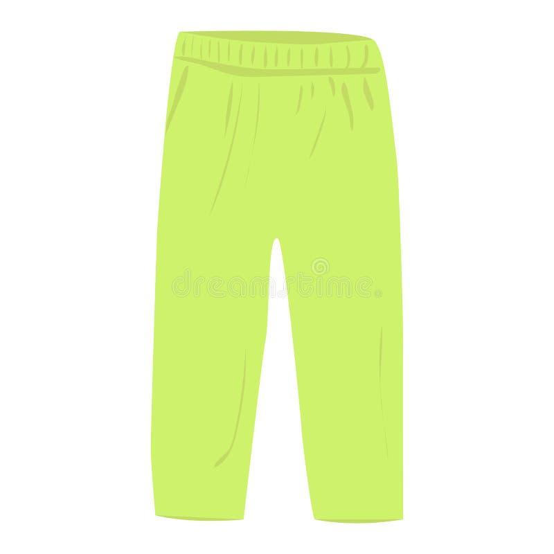 Icona verde di vettore dei pantaloni su un fondo bianco Illustrazione dei pantaloni del bambino isolata su bianco Stile realistic illustrazione vettoriale
