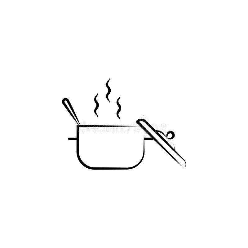 Icona verde e calda della minestra, Elemento dell'icona della medicina alternativa per i apps mobili di web e di concetto Icona c royalty illustrazione gratis