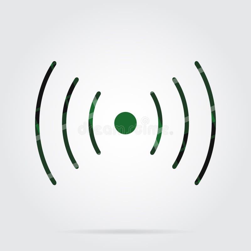 Icona verde e nera del tartan - suoni, simbolo di vibrazione royalty illustrazione gratis