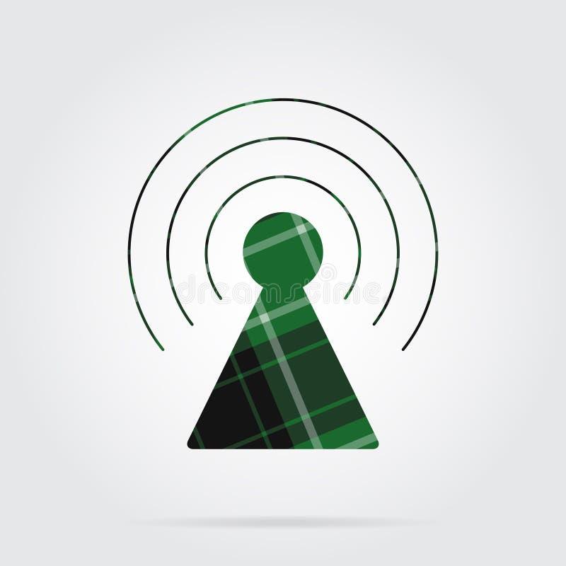 Icona verde e nera del tartan - torre del trasmettitore royalty illustrazione gratis