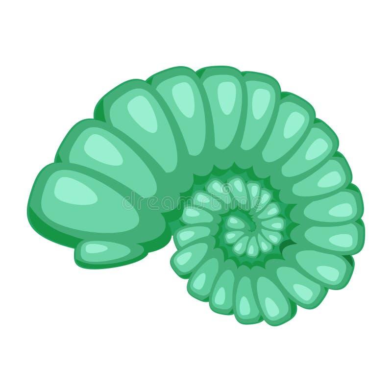 Icona verde intenso sveglia della conchiglia del fumetto Simbolo variopinto dei crostacei isolato su fondo bianco Stile del fumet illustrazione di stock