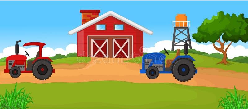 Icona verde realistica del trattore, logo, forma con le grandi ruote isolate con fondo illustrazione di stock