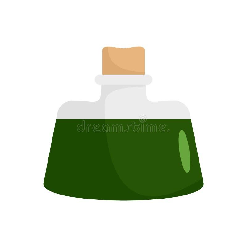 Icona verde scuro della pozione, stile piano illustrazione di stock
