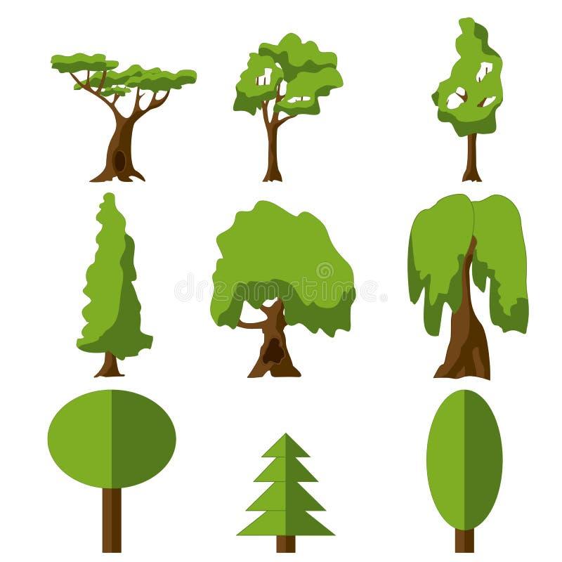 Icona verde stilizzata dell'albero Insieme isolato fumetto Illustrazione di vettore royalty illustrazione gratis