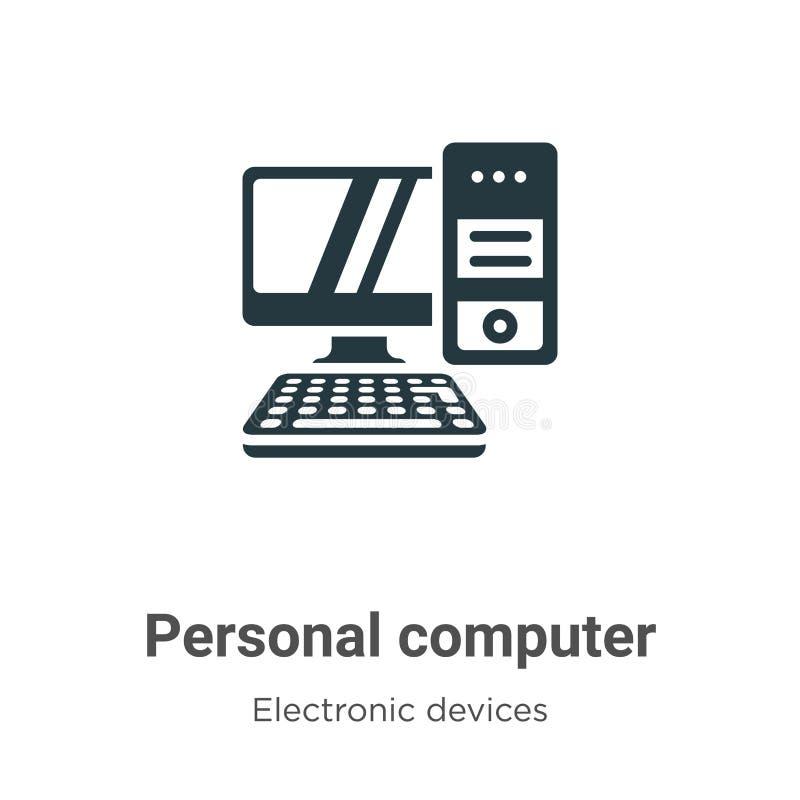 Icona vettore computer personale su fondo bianco Segnale di simbolo dell'icona del computer personale a vettore piatto provenient illustrazione vettoriale
