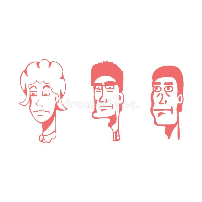 Icona, vettore, insieme, avatar, fronte, illustrazione, raccolta, essere umano, donna, isolato, piano, lineare, affare, la gente, immagini stock libere da diritti