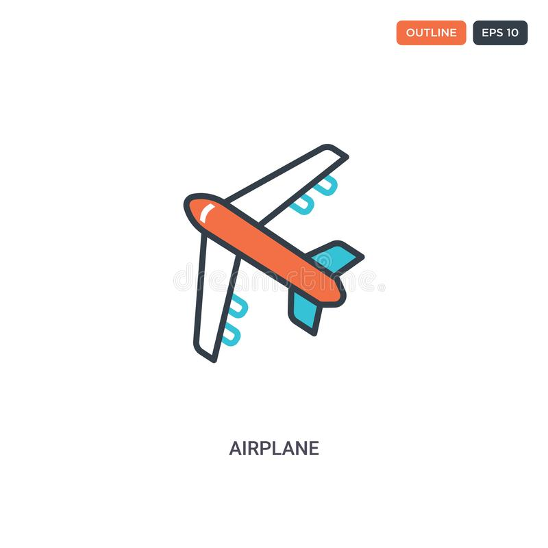 Icona vettore linea concconcetto di velivolo a 2 colori è possibile utilizzare per il Web due icone di contorno del velivolo colo royalty illustrazione gratis