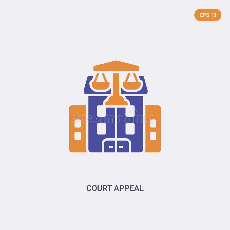 Icona vettore per il concetto di ricorso alla Corte dei colori simbolo vettoriale di due colori di appello della corte di appello illustrazione vettoriale