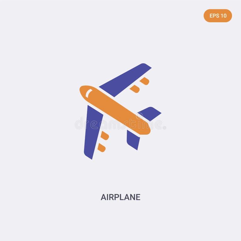 Icona vettoriale del concetto di velivolo a colori è possibile isolare due simboli del vettore aereo a colori progettati con colo illustrazione vettoriale